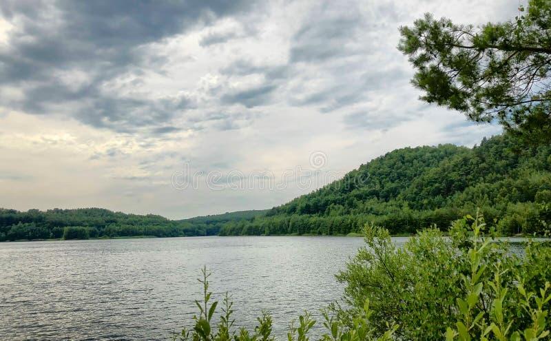 Lasowy jezioro pod błękitnym chmurnym niebem obraz royalty free