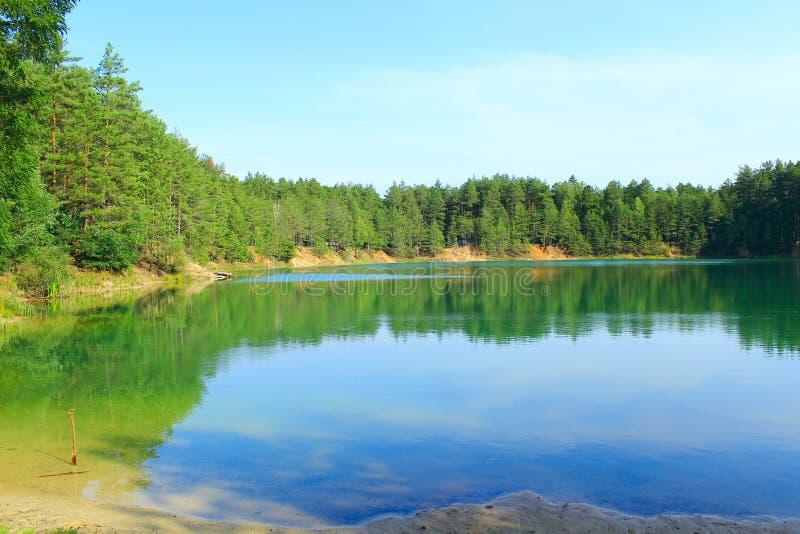 Lasowy jezioro z szmaragd wodą piękny krajobraz wody obraz stock