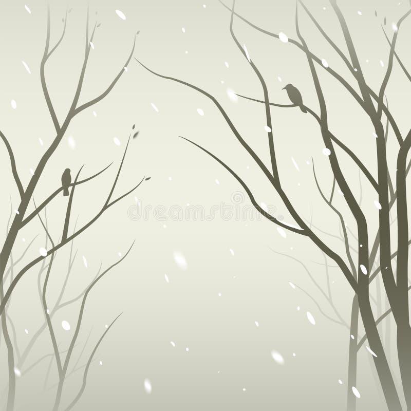 lasowy opad śniegu ilustracja wektor