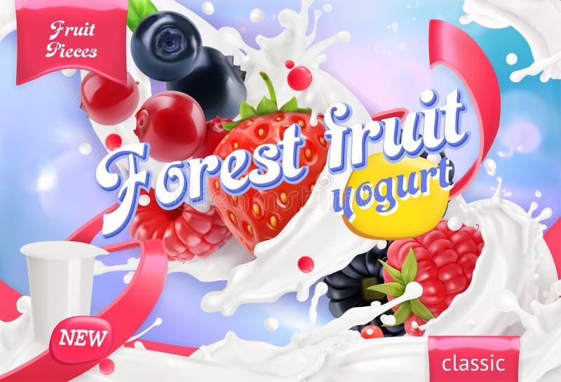 Lasowy owocowy jogurt Mieszani jagody i mleka pluśnięcia 3d wektor ilustracji