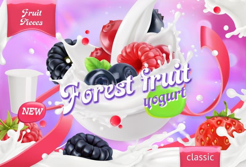 Lasowy owocowy jogurt Mieszani jagody i mleka pluśnięcia 3d wektor royalty ilustracja