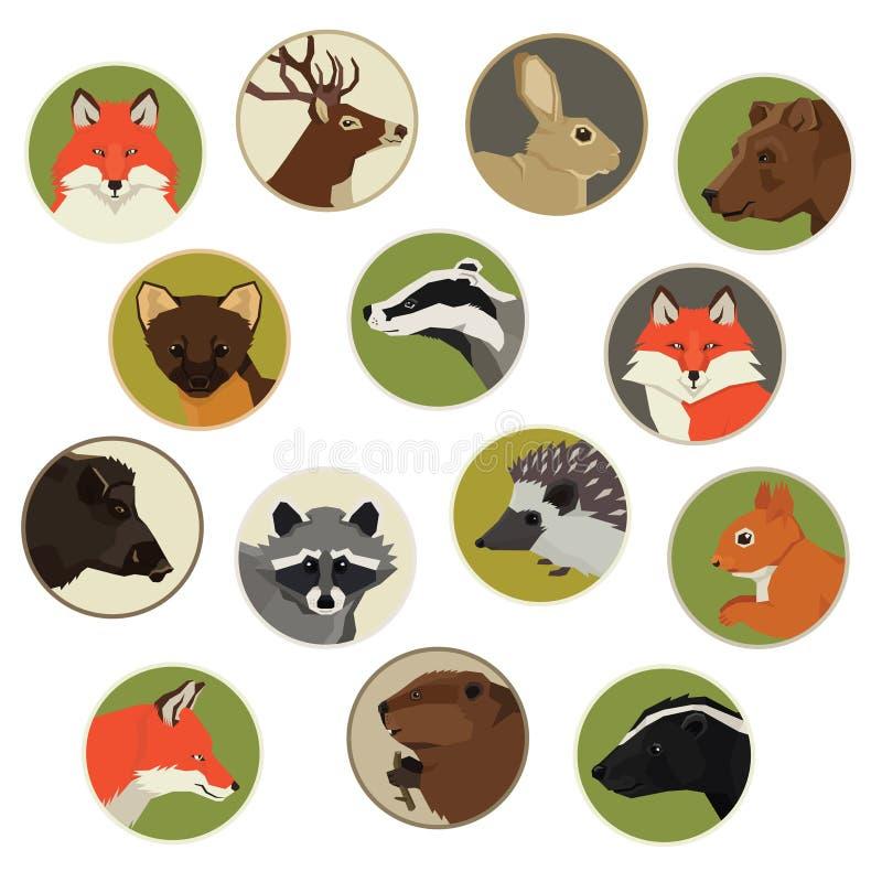 Lasowych żyć dzikich zwierząt Geometryczna stylowa ikona round ilustracji