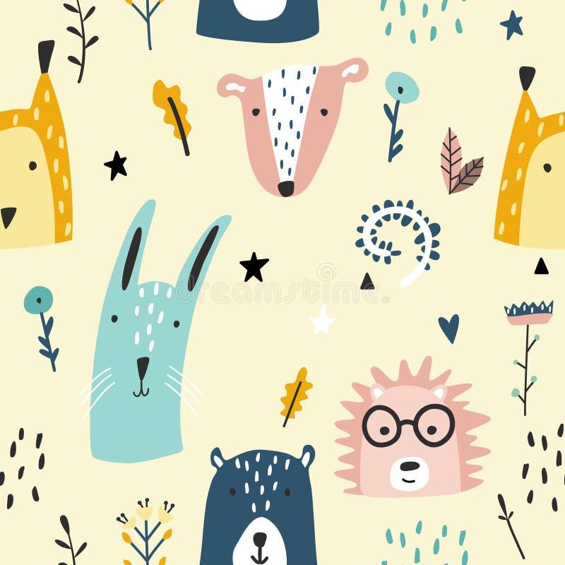 Lasowych dzieci zwierząt bezszwowy śmieszny wzór ilustracja wektor