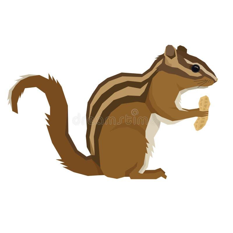 Lasowych przyrod Wektorowych zwierząt Geometryczny stylowy Chipmunk z arachidem royalty ilustracja