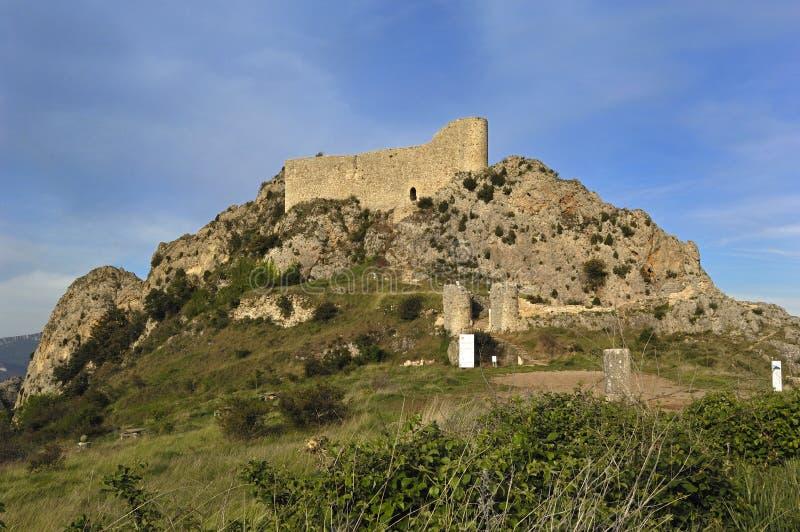 Lasrojas Kasteel, La Bureba, de provincie van Burgos, Castilla-Leon, Spai royalty-vrije stock fotografie