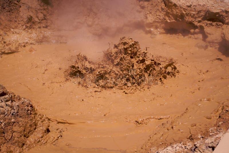 Lassen Mud Pit b. Volcanic bubbling mud pits in Lassen Park California stock images
