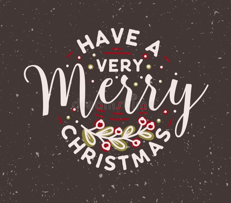 Lassen Sie einen Wunsch der sehr frohen Weihnachten mit elegantem kalligraphischem Guss handgeschrieben und durch Beerenzweig ver stock abbildung