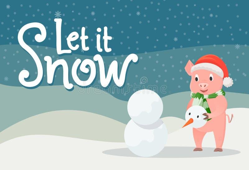 Lassen Sie es Schnee-Plakat-Ferkel im warmen Stoff im Winter vektor abbildung