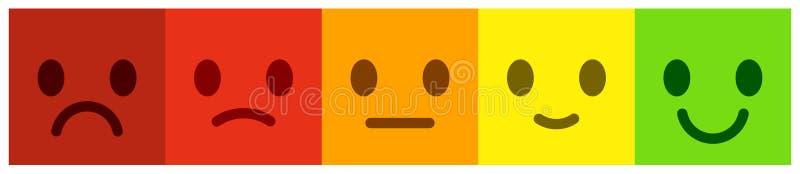 Lassen Sie Feedback Abstimmungsskala mit bunten smileyknöpfen lizenzfreie abbildung