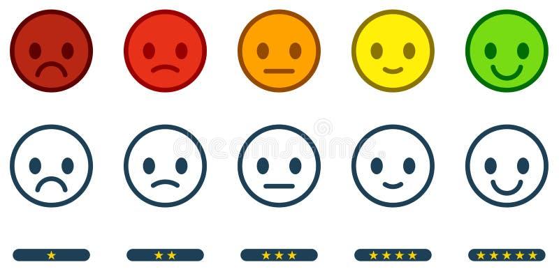 Lassen Sie Feedback Zufriedenheits-Skala mit Farbsmiley knöpft lizenzfreie abbildung