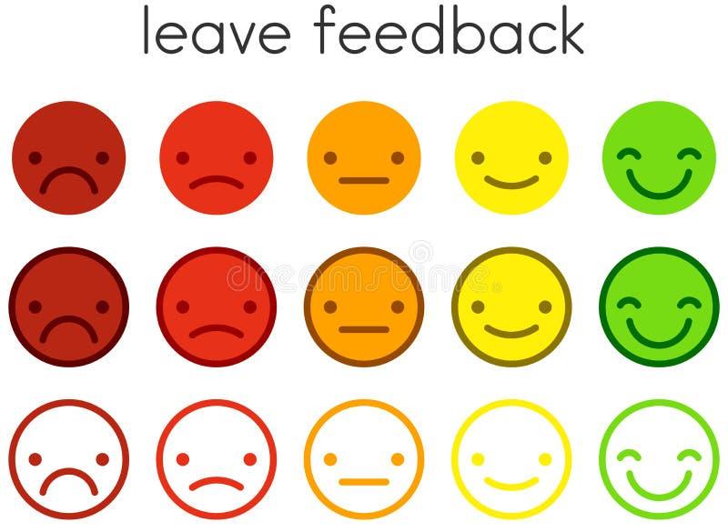 Lassen Sie Feedback Zufriedenheits-Skalen mit Farbsmileyknöpfen stock abbildung