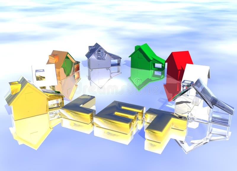 Lassen Sie Goldtext-Ring der verschiedenen Typen der Häuser stock abbildung