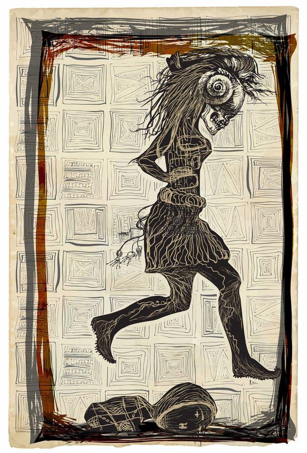 Lassen Sie Punk, Lauf - ein Hand gezeichneter Vektor laufen und freihändig skizzieren stock abbildung