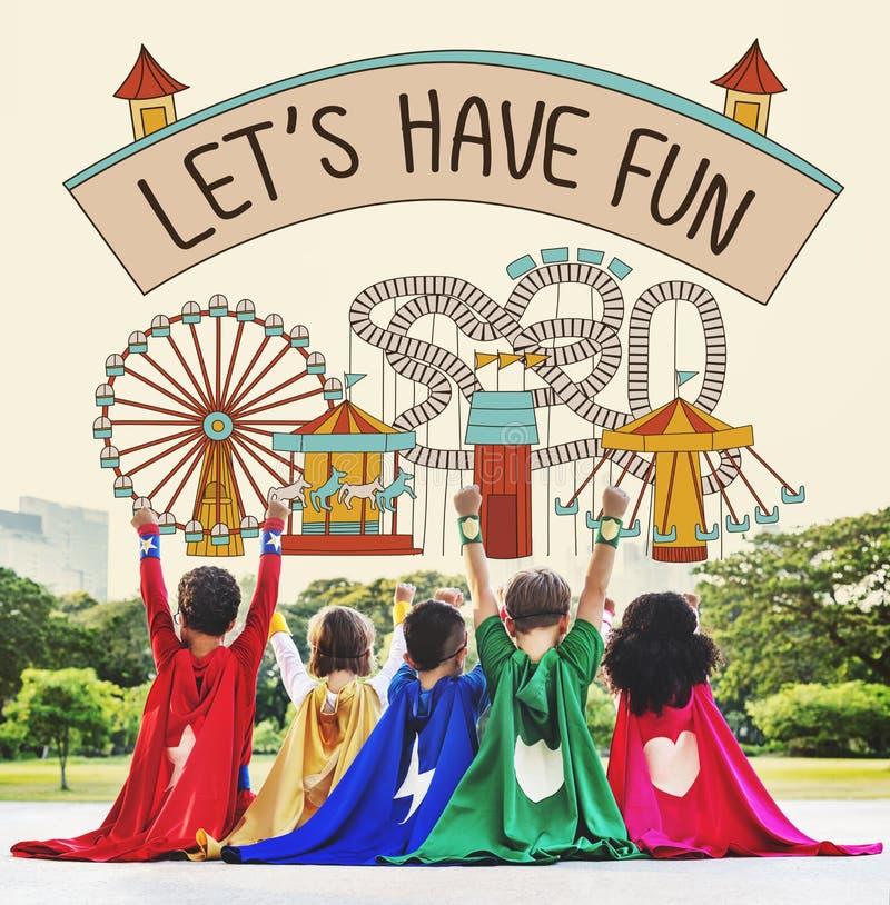 Lassen Sie ` s Spaß-Kinderkindergraphik-Konzept haben stockfotos