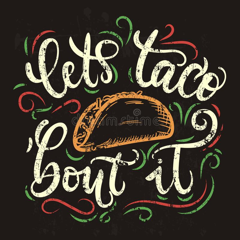 Lassen Sie ` s Taco ` Kampf es Weinleseplakatdesign lizenzfreie abbildung