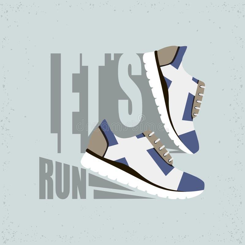 Lassen Sie uns flache Illustration laufen lassen Laufschuhe mit Schatten r stockfotos