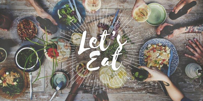 Lassen Sie uns Lebensmittel-Verpflegungs-Küche-feinschmeckerisches Essenkonzept essen stockfotografie
