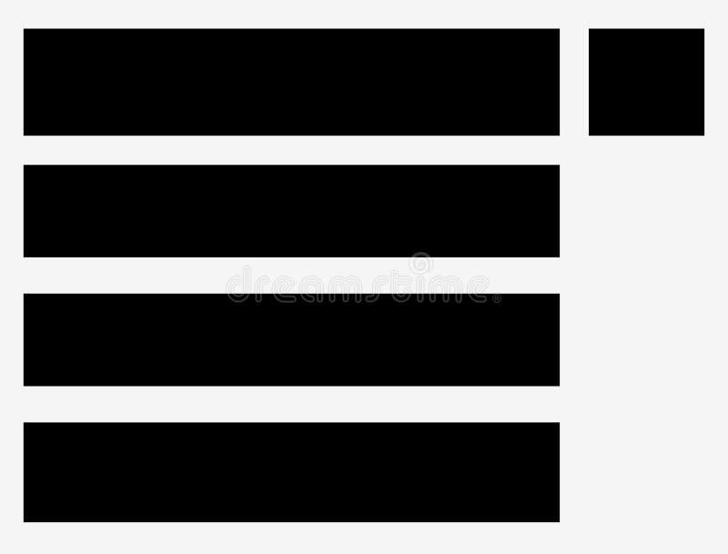 Lassen Sie unten Menüsymbole für webdesign, Vorderseitenentwicklungsbetrug fallen vektor abbildung