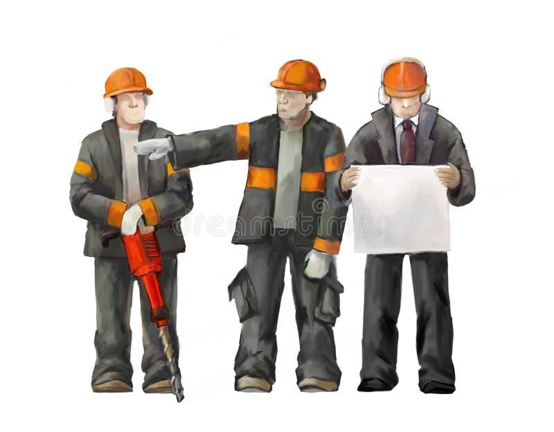 Lasser, elektricien en projectleider Bouwers die aan bouwwerkzaamhedenillustratie werken royalty-vrije illustratie