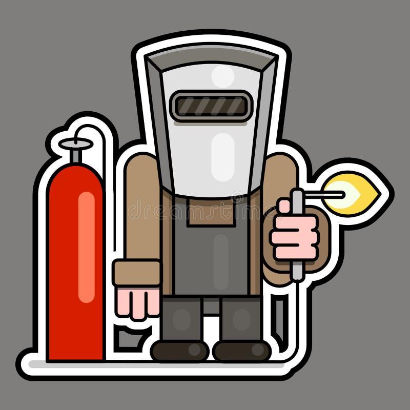 Lasser met gasfles en reductiemiddelenvector stock illustratie