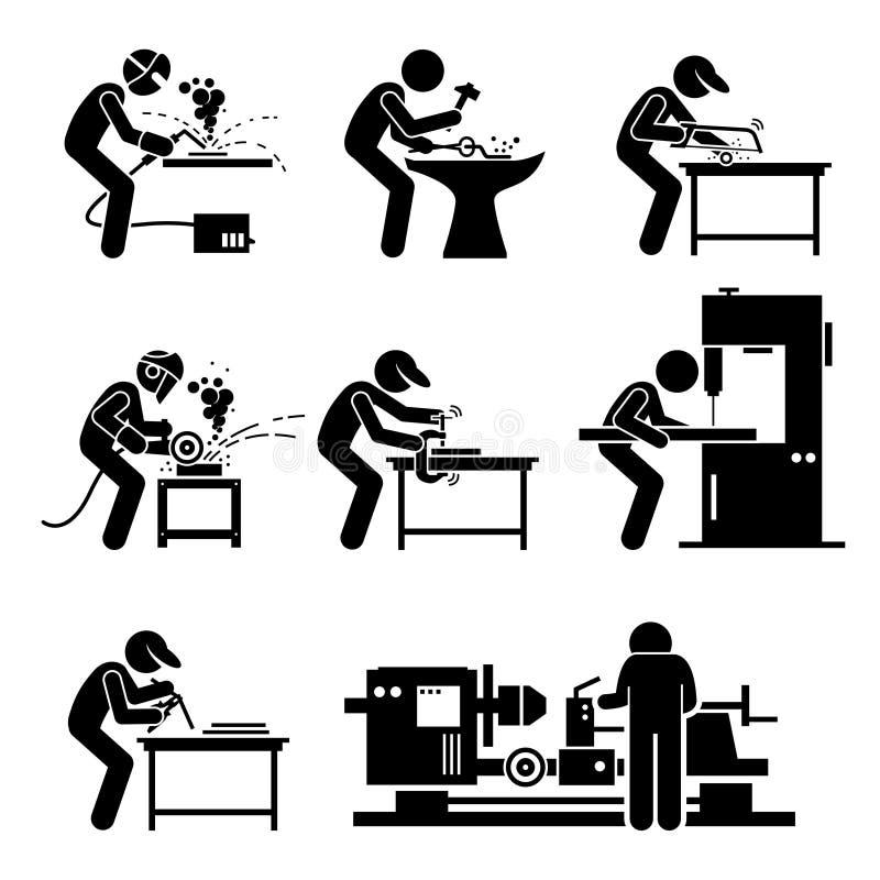 Lasser Metalworking Steelworks Workshop Clipart royalty-vrije illustratie