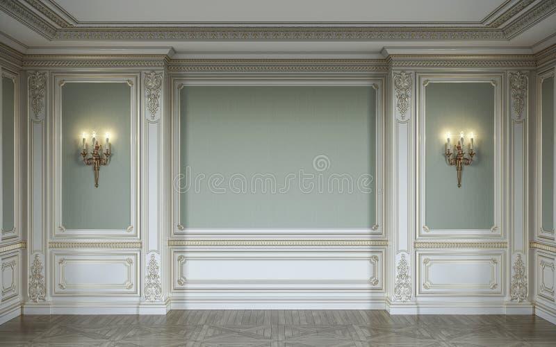 lassic εσωτερικό στα χρώματα ελιών με τις ξύλινες επιτροπές τοίχων, sconces και τη θέση τρισδιάστατη απόδοση διανυσματική απεικόνιση