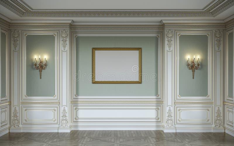 lassic Innenraum in den olivgrünen Farben mit hölzernen Wänden, Leuchtern, Rahmen und Nische Wiedergabe 3d lizenzfreie stockfotos
