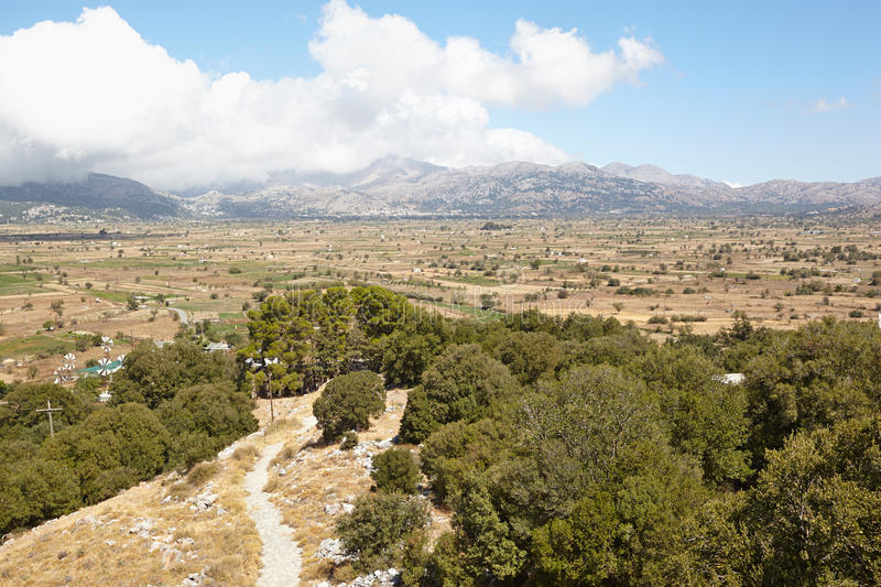 Lassithi Plateau. Greece, Crete. View of the Lassithi Plateau from the mountain Dikti royalty free stock images
