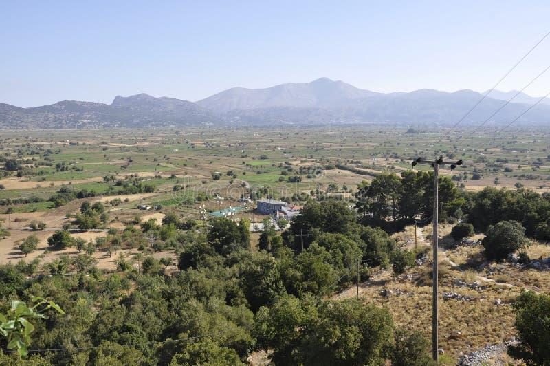 Lassithi Plateau landscape in Crete island of Greece. Beautiful Lassithi Plateau landscape in Crete island of Greece on august 2017 royalty free stock images