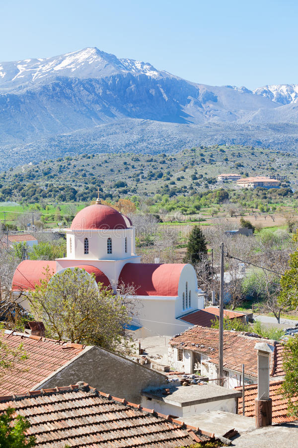 The Lassithi Plateau in the mountains of Crete. Crete - Greece - The Lassithi Plateau in the mountains of Crete stock photo