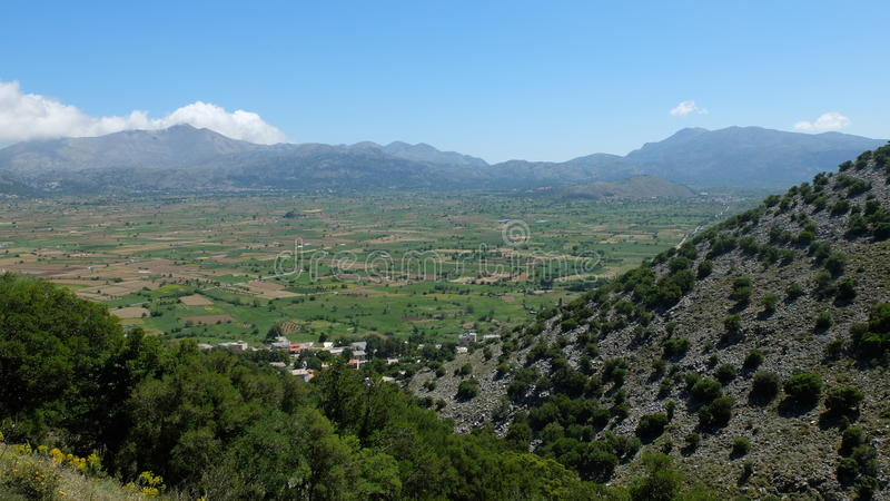 Lassithi Plateau. View of the Lassithi Plateau from Bektashi cave on the Greek island of Crete stock images