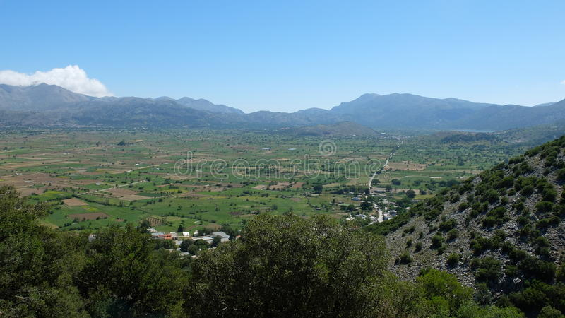 Lassithi Plateau. View of the Lassithi Plateau from Bektashi cave on the Greek island of Crete royalty free stock images
