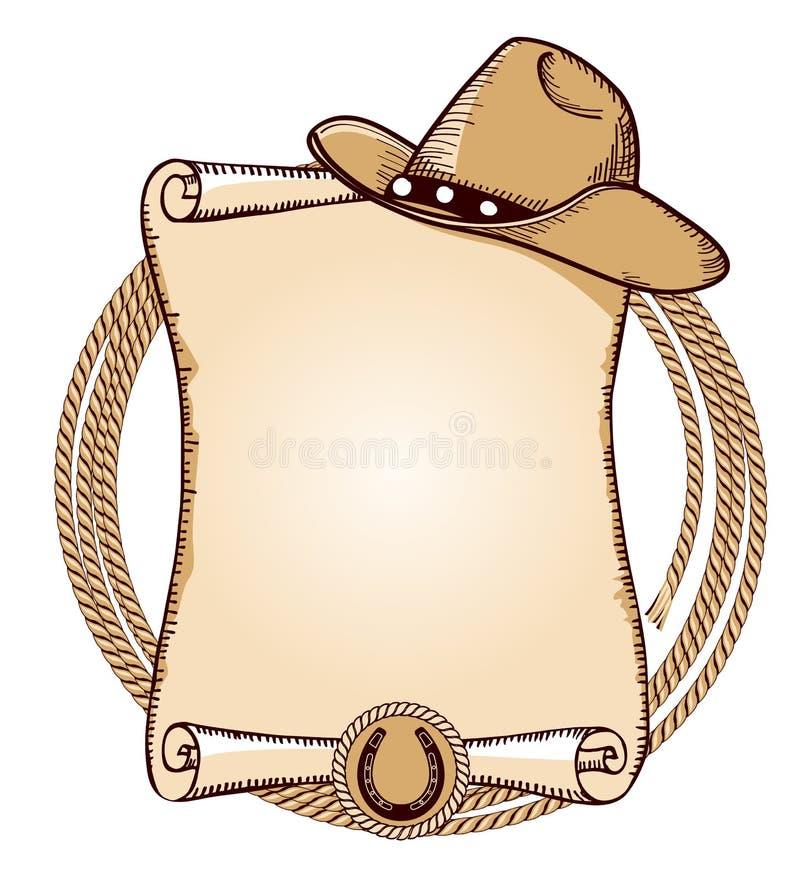lasso шлема ковбоя Иллюстрация американца вектора иллюстрация штока