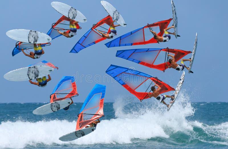Lasso di tempo di salto di windsurf fotografia stock libera da diritti