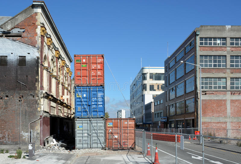 The last buildings standing in Tuam Street Christchurch, New Zealand stock photos