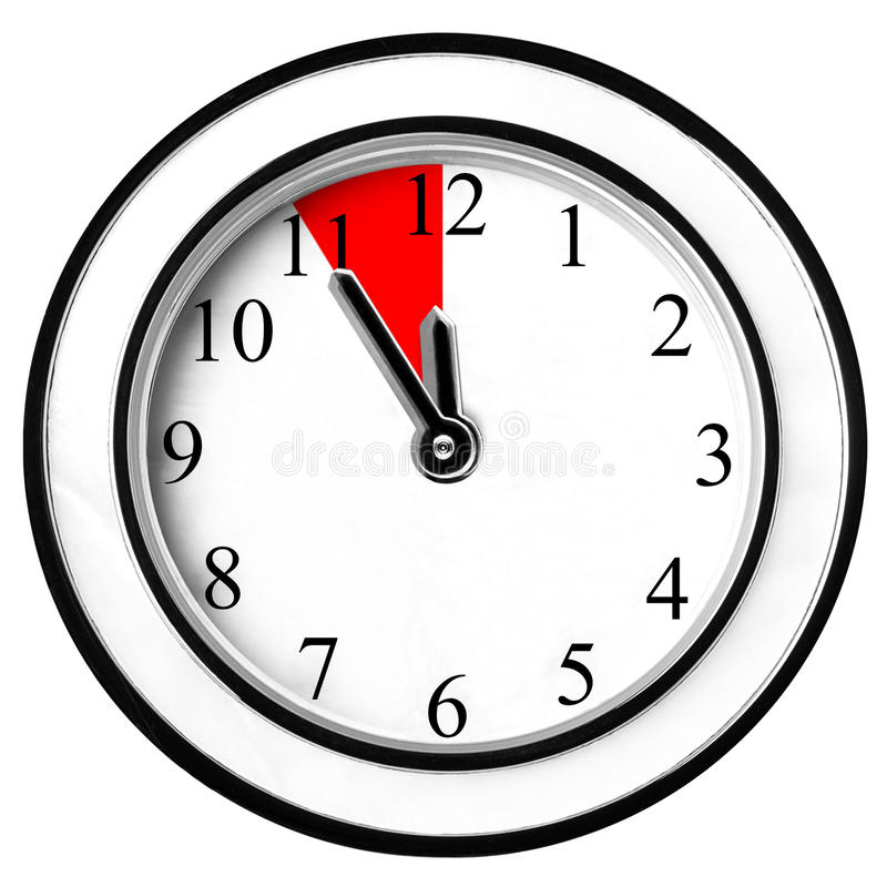 Last Chance Minutes Wall Clock Isolated. Classic wall clock isolated white background stock images