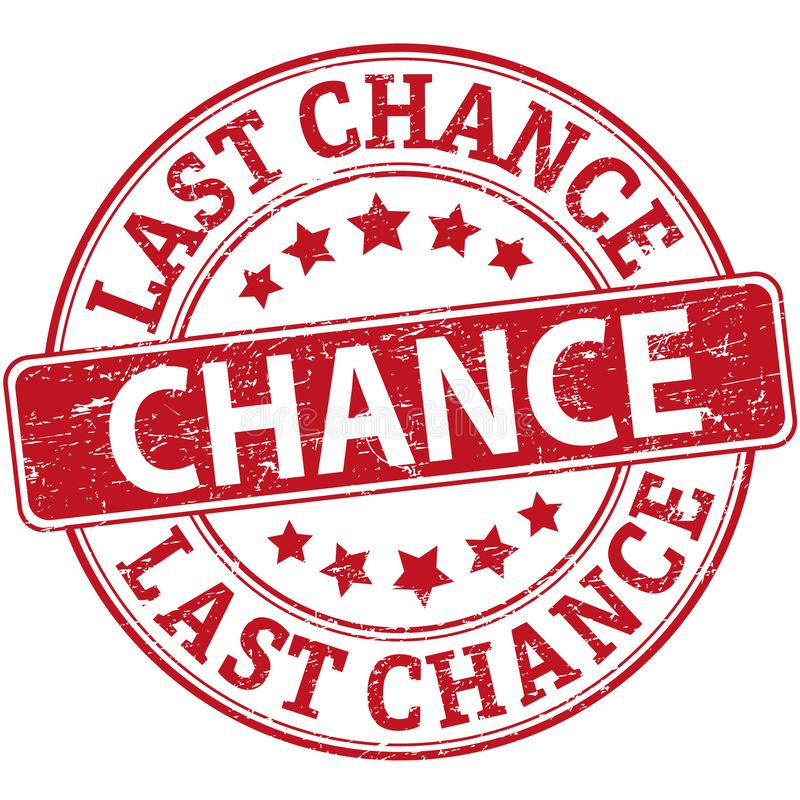 Last chance red rubber web stamp with stars vector illustration