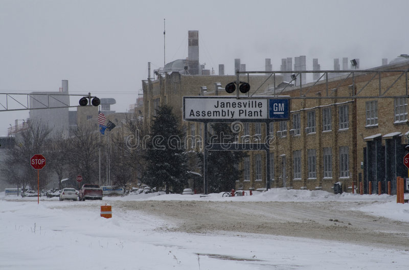 Last Day for GM Plant in Janesville, Wisconsin. This photograph was taken during a snowstorm on December 23, 2008, the last day Chevy and GMC SUVs will come off stock image