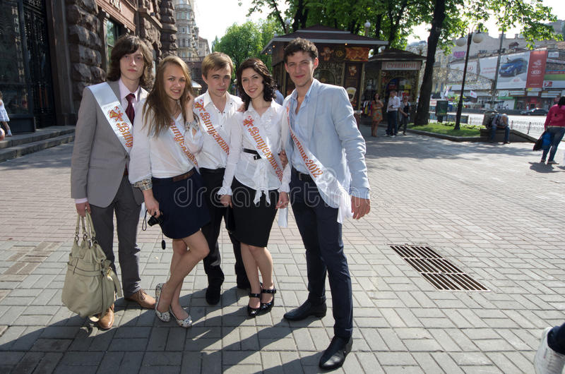Last day of school in kiev stock photos