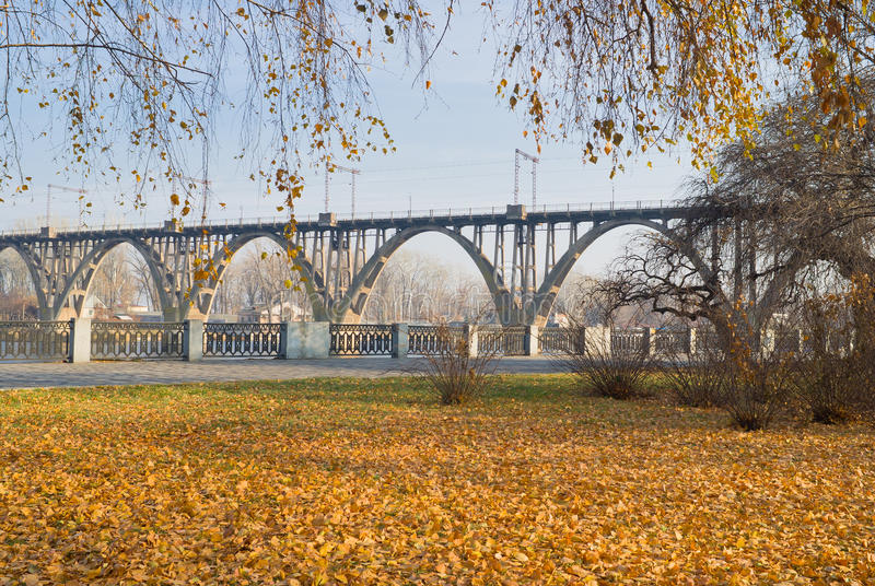 The last days of fall on an embankment. In Dnepropetrovsk city, Ukraine stock images