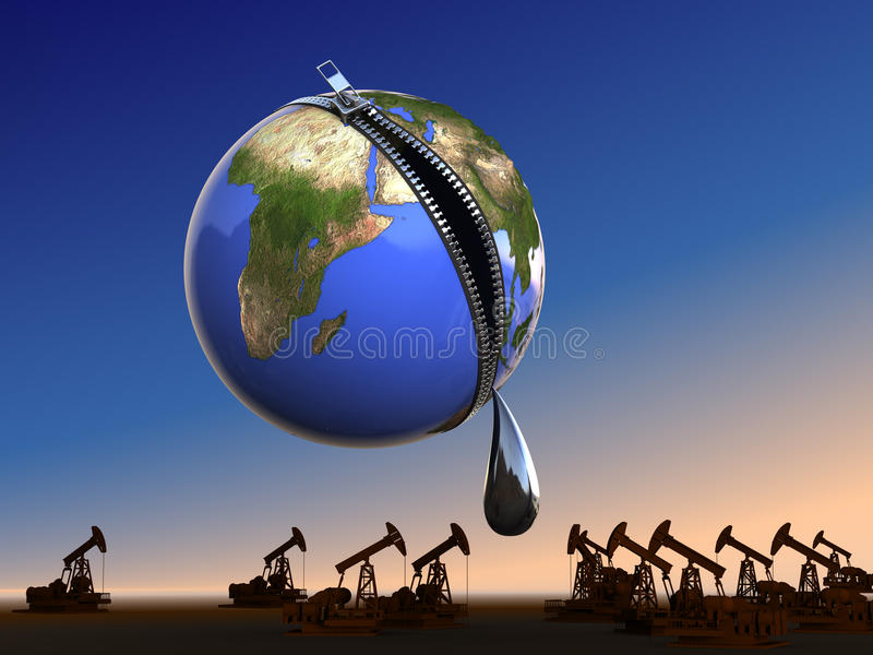 Last drop oil at Earth. Conceptual business - ecology illustration stock illustration