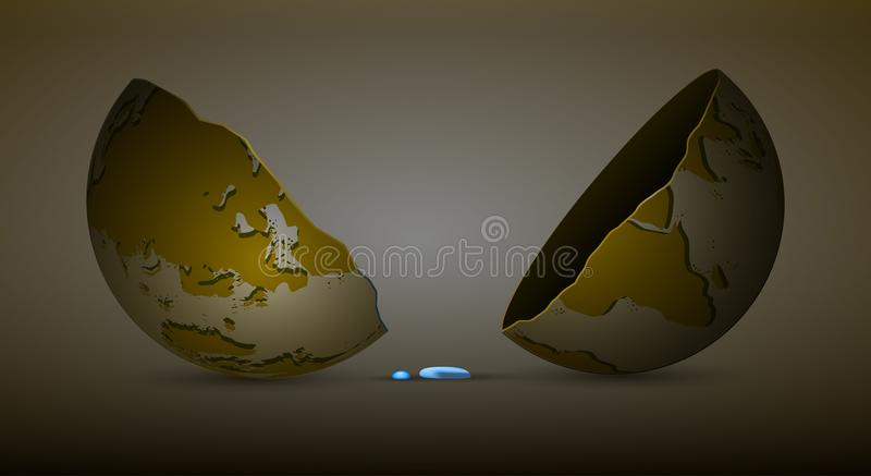 Last drop of water on planet Earth concept, fresh water limit on the planet idea, no water resources on the planet,dead. Planet idea, vector vector illustration