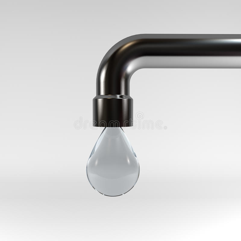 The last drop of water from a tap stock illustration