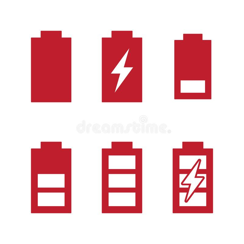Last en van de de indicatorenbatterij van fasenniveaus het laden geplaatste pictogrammen vector illustratie