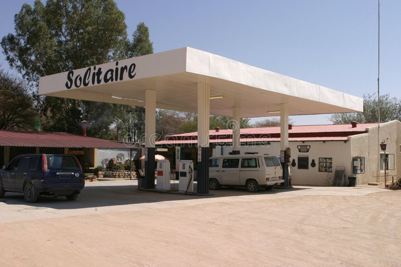 Last Gas Station, Namibia stock photos