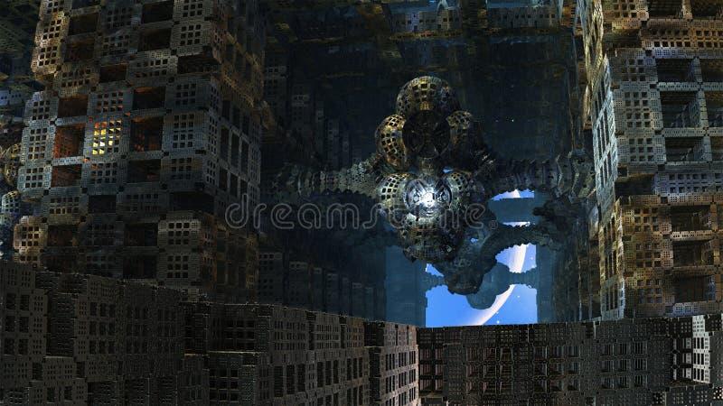 Last Inhabitant of Abandoned Alien City. One apartment remains lit in a vast, near-derelict building complex on alien world vector illustration