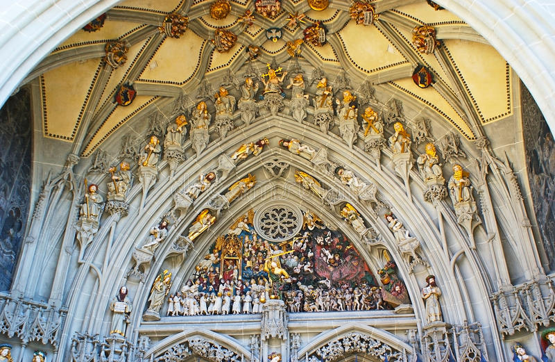 The Last Judgement sculptural composition. The central portal of the Munster Cathedral of Berne is decorated with the Last Judgement sculptural composition royalty free stock photos