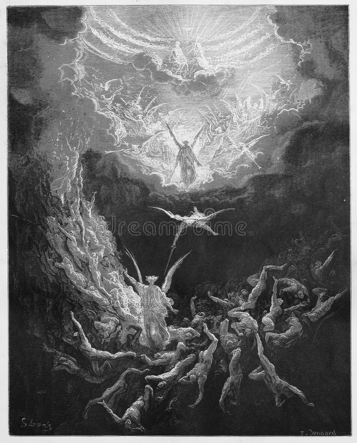 The Last Judgment. Picture from The Holy Scriptures, Old and New Testaments books collection published in 1885, Stuttgart-Germany. Drawings by Gustave Dore