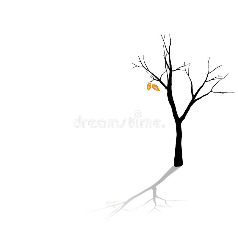 Last of the Leaves. A tree losing it's leaves in the fall royalty free illustration