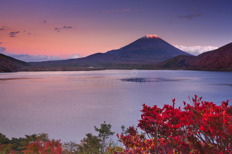 Last light on Mount Fuji and Lake Motosu, Japan royalty free stock photo